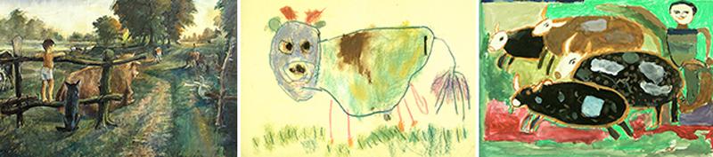 Kuvakollaasi lasten tekemistä lehmäaiheisista teoksista