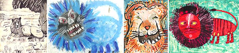 Kuvakollaasi lasten tekemistä leijona-aiheisista teoksista