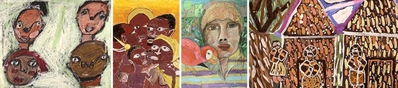 Kuvakollaasi lasten tekemistä Afrikka-aiheisista teoksista