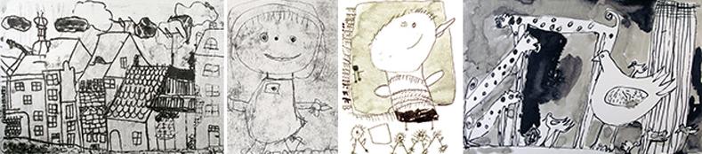 Kuvakollaasi lasten tekemistä mustavalkoisista teoksista