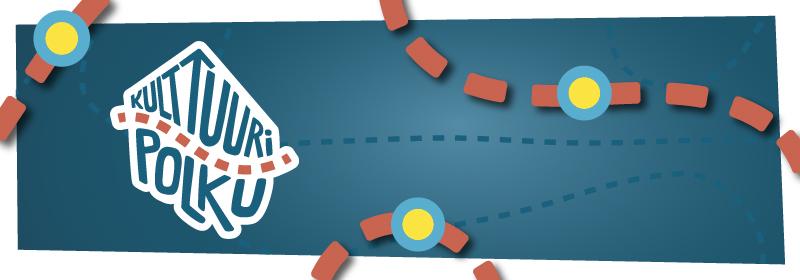 Kulttuuripolun logo tummalla taustalla. Kuvan poikki menee oransseja katkoviivoja ja sinikeltaisia palloja.