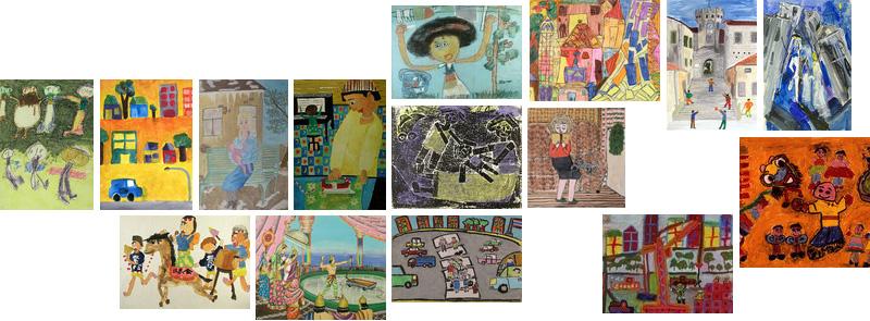 15 thumnail-kuvaa lasten tekemistä piirustuksista ja maalauksista.