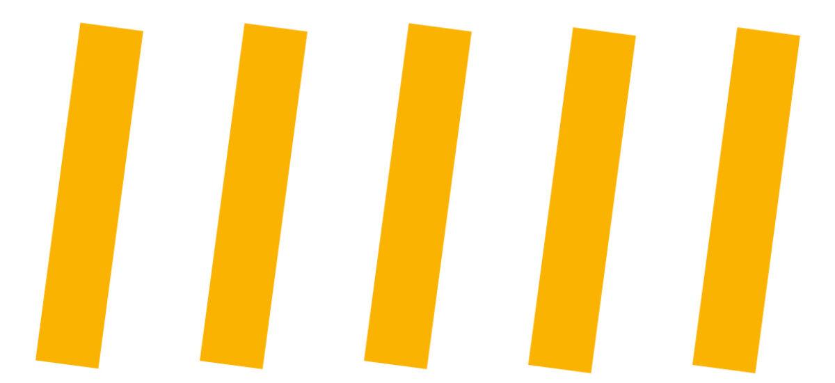 Valkoisella pohjalla keltaisia pystysuoria kuvioita.