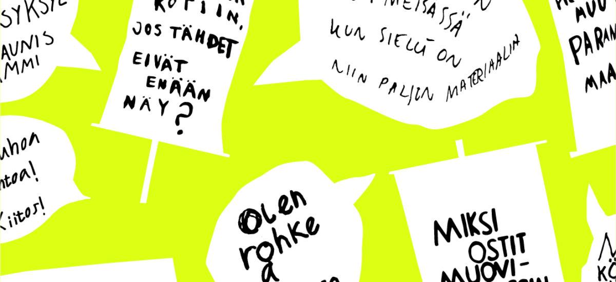 Puhekuplia lasten kantaa ottavista lauseista keltaisella taustalla.