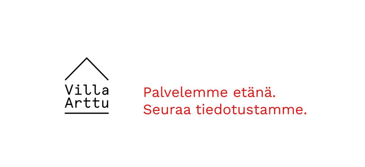 valkoinen pohja, jossa Villa Artun logo ja punaista teksitä.